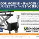 Mobiele hefwagen voor accupakketten van E-voertuigen